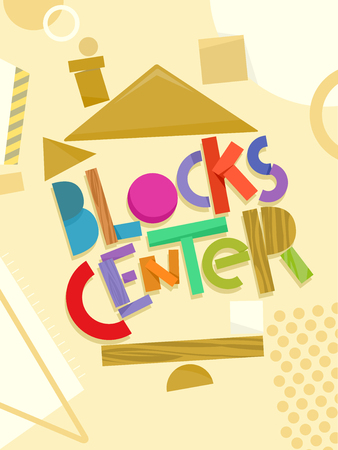 Typography Illustration Featuring the Words Blocks Center Surrounded by Wooden Building Blocks Stock Photo