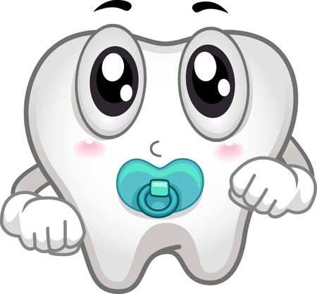 Cute Mascot Illustration Featuring an Adorable Baby Tooth Sucking on a Pacifier
