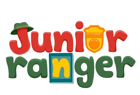 Typografie Illustratie met de Words Junior Ranger Versierd met een hoed, een badge en een gidsboek