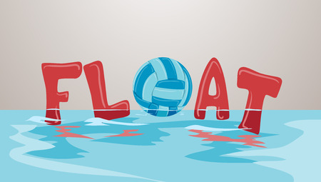 Colorful Typography Illustration Featuring the Word Float Decorated With Inflatables and a Beach Ball Stock Photo