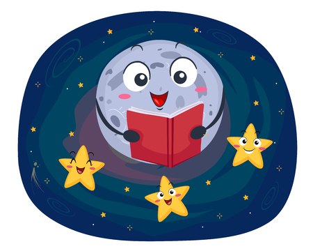 storybook: Colorful Mascot Illustration Featuring a Full Moon Reading a Bedtime Story to a Group of Stars
