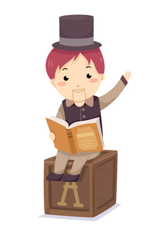 Colorful Illustration Featuring a Wooden Puppet Dressed Like a Little Boy Reading a Book