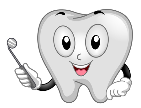 Cute Mascot Illustration Featuring a Pearly White Tooth Holding a Dental Mirror