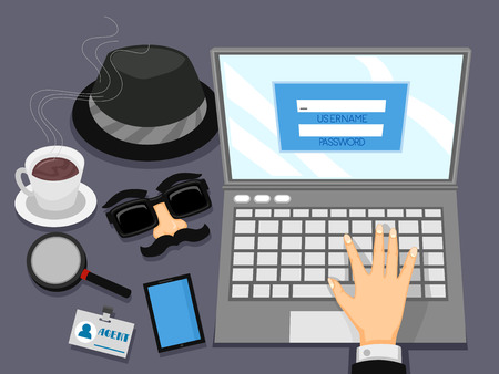 Conceptual Illustration Featuring a Hand With Spy Gear Scattered All Over His Table Trying to Access an Account
