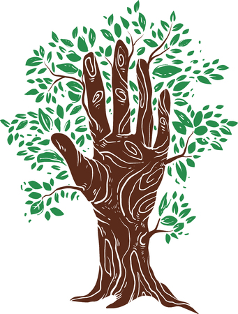 Conceptual Illustration Featuring a Hand Drawn Like a Tree With Leaves Sprouting All Over It