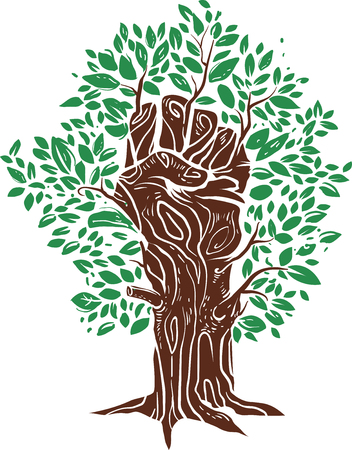 Conceptual Illustration Featuring a Closed Fist Forming the Shape of a Tree