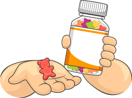 Illustration Featuring a Little Kid Holding a Medicine Bottle in One Hand and a Chewable Tablet in the Other Stock Photo