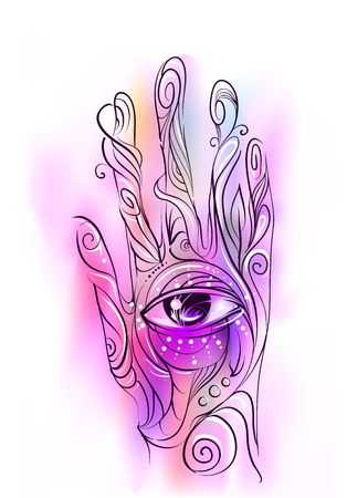 Colorful Conceptual Illustration Featuring a Hand Decorated With Swirls and a Giant Eye at the Center Stock Photo