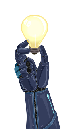 computerized: Conceptual Illustration Featuring an Artificial Arm Holding a Light Bulb Stock Photo