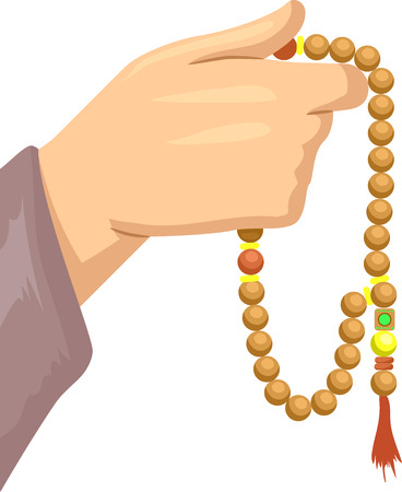 devotee: Cropped Illustration Featuring a Muslim Devotee Hand Holding Islamic Prayer Beads