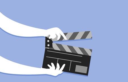 Cropped Illustration Featuring a Member of the Production Staff Using the Clapper