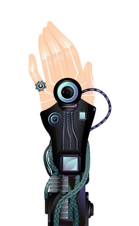 dedo meÑique: Ilustración futurista con un brazo artificial metálico con un anillo hecho en forma de engranaje envuelto alrededor del meñique
