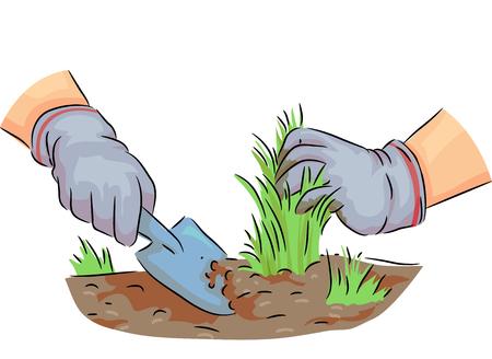 Bunte Illustration, die einen Gärtner zieht Unkräuter vom Boden kennzeichnet Standard-Bild - 85311386