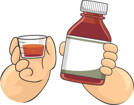metro de medir: Ilustración con un niño sosteniendo una botella de medicina en una mano y una taza de medir en la otra