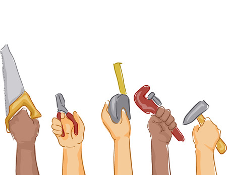 vise: Cropped Illustration Featuring Hands Holding Different Construction Tools