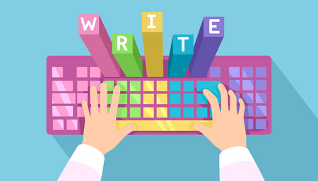 Illustration Featuring Hands Typing on a Colorful Keyboard With Letters That Spell Out Write Popping Above