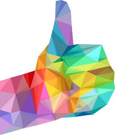 rainbow colors: Illustration Featuring a Hand Decorated With Rainbow Colored Geometric Patterns Giving a Thumbs Up Stock Photo