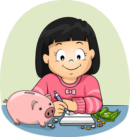 Illustration of a Kid Girl Writing and Keeping Track of Her Savings in Her Piggy Bank