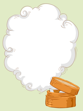Background Illustration of a Bamboo Steamer with Open Lid Releasing Steam