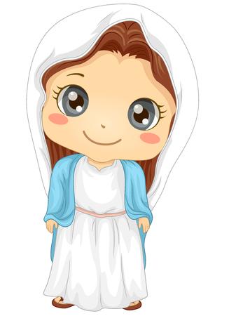 Illustratie van een jong geitjemeisje dat een Maagdelijk Kostuum van Mary voor een Spel draagt