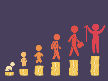 Illustration of Lifetime Investment Concept. Upward Chart of Coins from Baby to Senior