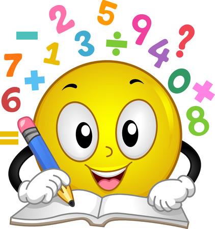 그의 통합 문서에 수학 문제를 응답 연필을 들고 웃는 마스코트의 그림 스톡 콘텐츠