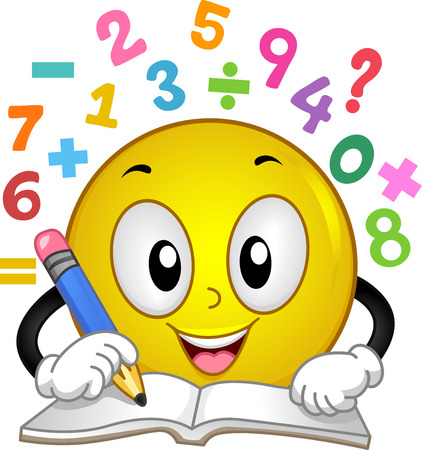 Illustration of a Smiley Mascot Holding a Pencil, Answering Math Problems on His Workbook