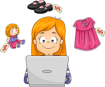 Illustration of a Kid Girl Shopping for a Doll, Shoes and a Dress Online Using Her Laptop Stock Photo