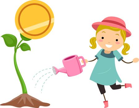 돈을 식물의 관리 복용에 대 한 물을 들고 아이 소녀의 개념적 그림