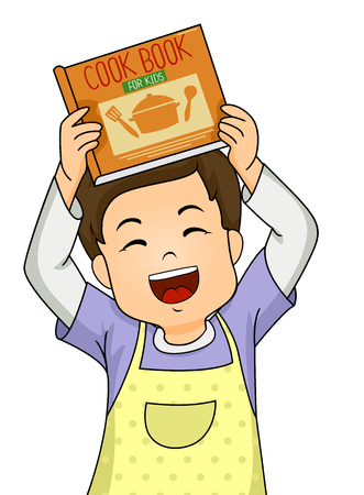 Illustration of a Kid Boy Wearing an Apron while Showing a Cook Book for Kids Banco de Imagens