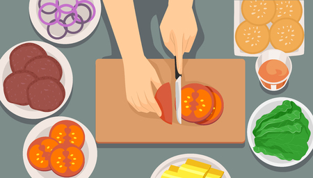 Illustration of Hands Chopping Tomatoes as Ingredient for Making Burgers