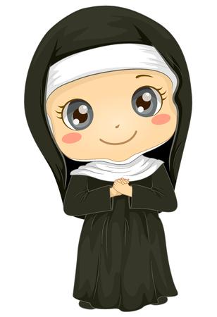 Ilustración de una niña usando un uniforme de monja para un juego Foto de archivo - 86270814