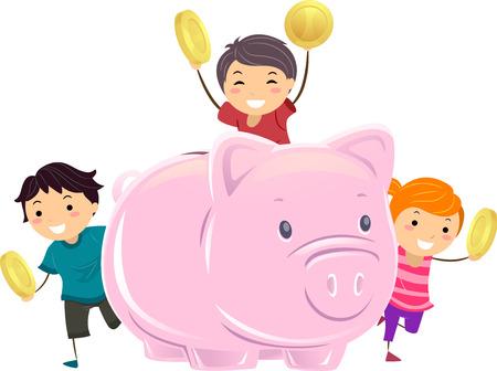 큰 돼지 저금통 외에도 동전을 들고 Stickman 아이의 그림