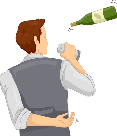 Illustration of a Bartender Flipping Bottle and Shaker to Entertain Guests. Flair Bartending.