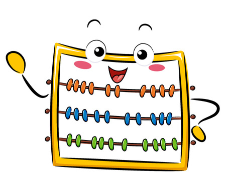 school: Illustration of a Cute Abacus Mascot Teaching Something Beside It