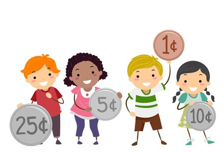 Illustration of Stickman Kids Holding Different Coins from Twenty Five Cents to One Cent Stock Photo