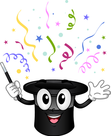 Illustration of a Magician Hat Mascot with Confetti Popping Out of Its Head