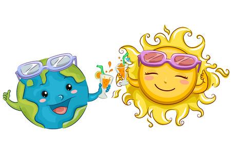 86270843 - Ilustración de una mascota de la tierra y el sol con gafas de  sol brindando sus bebidas favoritas de verano e769e724cf7