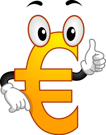 Illustration of a Yellow Euro Mascot Showing an Okay Sign as Approval