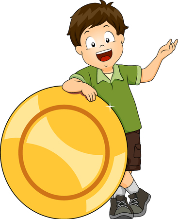 Illustration of Kid Boy Holding a Big Coin While Talking