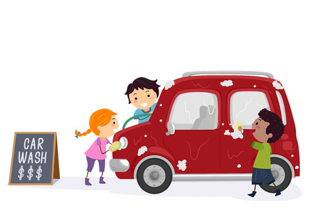 Illustration of Stickman Kids Washing a Car to Earn Money Stock Photo