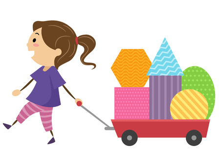 Illustration of a Kid Girl Pulling a Cart Full of Geometric Shapes