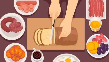 Illustration of Hands Slicing Bread Surrounded by Different Foods for Breakfast