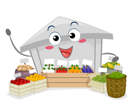 peasant: Illustration of a Farmers Market Mascot with Different Fruits for Sale