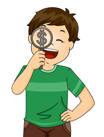 Illustration of a Kid Boy Holding Magnifying Glass Looking For Ways to Earn Money
