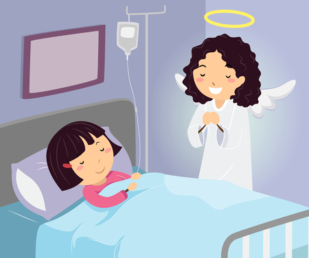 Illustration of a Kid Girl in the Hospital with Her Guardian Angel at her Side Praying Stock Photo