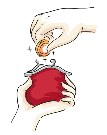 Illustration of Hands Inserting Coin into a Red Purse Stock Photo