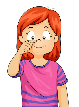 Illustration of a Kid Girl Pointing to Her Nose