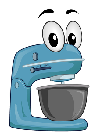 Illustration of a Blue Stand Mixer Mascot Ready for Use in the Kitchen