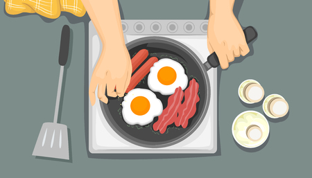 Illustration of Hands Cooking Breakfast, Frying Eggs, Bacon and Sausages